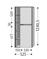 Sanipa Stauraumschrank rechts Twiga Glas, SY10514 Pinie-Grau