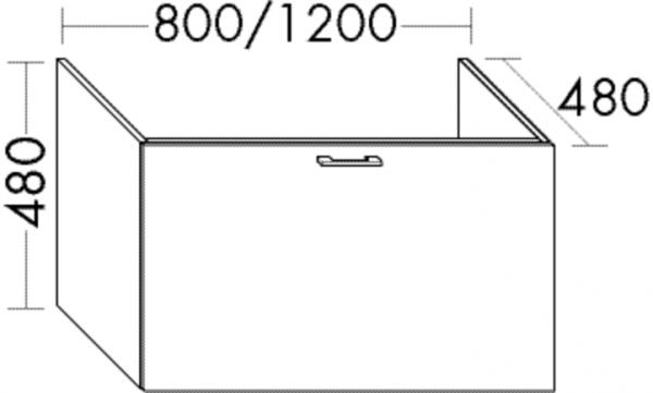 Burgbad Waschtisch-Unterschrank Sys30 PG4 480x800x480 Dunkelgrau Hochglanz, WUYH080F3365