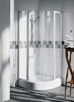 Kermi Viertelkreis Nova 2000 P53 V42 x1850, weiss, Kunstglas Kerolan Fontana, N2P53V421821K