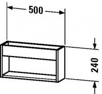 Duravit Wandregal Ketho T:135, B:500, H:240mm, KT25370 , Front/Korpus: europäische eiche, KT25370525