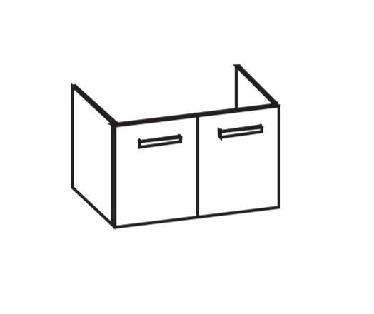 Artiqua 411 Waschtischunterschrank für D-Code 034285, Weiß Glanz, 411-WU2T-D31-7050-68