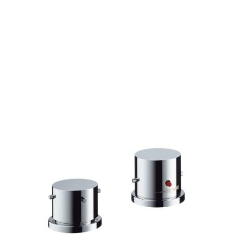 Hansgrohe 2-Loch Thermostatmischer Axor Starck Fertigset chrom für Wannenrandmontage, 10480000