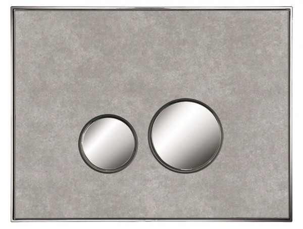 Neuesbad Betätigungsplatte mit runden Tasten, MDF, Farbe: Beton, Tasten: chrom glanz