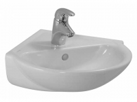 Laufen Eck-Handwaschbecken Laufen Pro C, 495x500mm 1 Hahnloch mittig, mit Überlauf, weiss