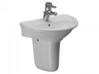 Laufen Handwaschbecken mit 2 integrierten Seifenablagen 1 Hahnloch mittig, mit Überlauf, weiss