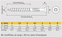 Apolo MEA Befestigungssysteme Spanplattenschraube VELOX PZ gelb 4,5X70/40 T, 9B4570VLOX