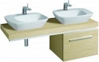 Keramag Waschtisch-Platte Silk 816242 Ausschn. rechts, /links 1400x100x470mm Eiche Echtholzfurn, Y81