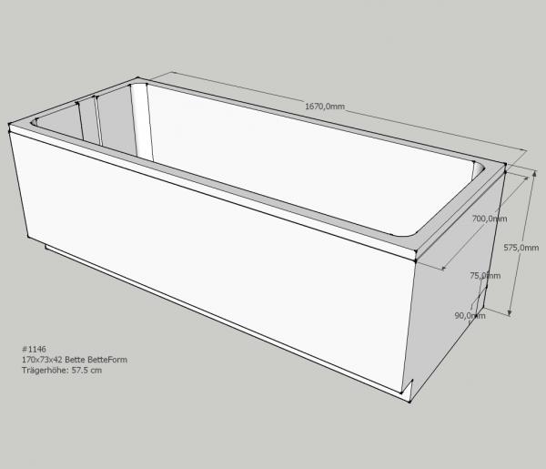 Neuesbad Wannenträger für Bette Form/Safe 170x73