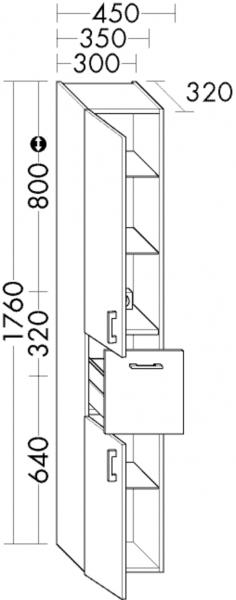 Burgbad Hochschrank Sys30 PG2 1760x300x320 Weiß Hochglanz, HSKU030L461