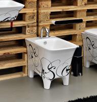 ArtCeram Cow Stand-Bidet, B: 380, T: 520 mm, black lettering Dekor