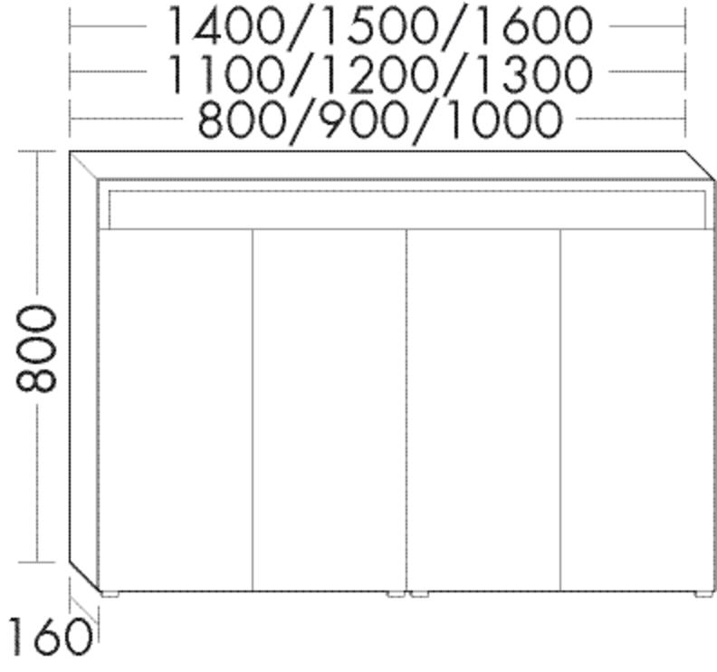 Image of Burgbad Spiegelschrank Sys30 PG4 800x1100x160 Eiche Schwarz, SPIC110F3449 SPIC110F3449