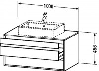 Duravit Waschtischunterschrank wandhängend Ketho T:550, B:1000, H:496mm, KT6655 , Front/Korpus: weis