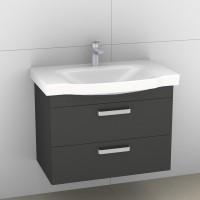 Artiqua Serie 414 Waschtischunterschrank mit 1 Blende und 2 Auszügen, 414-WU2L-V02-7065-51