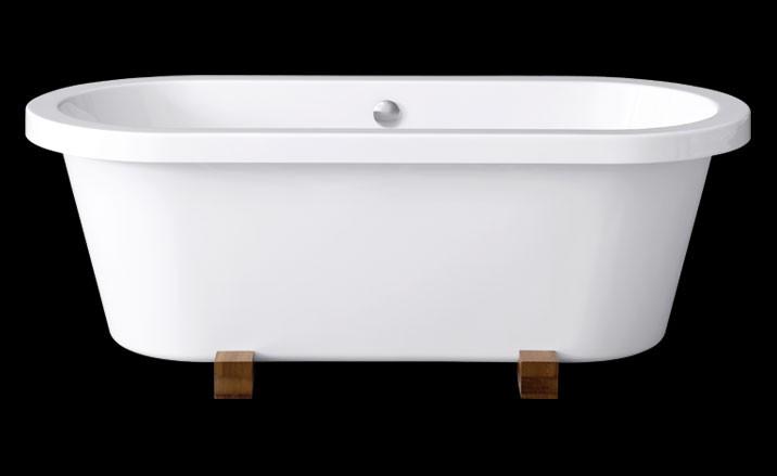 freistehende Badewanne Elegance Wood 180 x 80 cm, 0100-067-03-B/CR 0100-067-03-B/CR