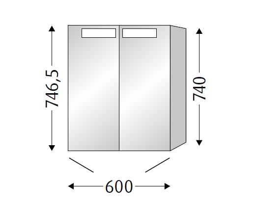 Sanipa Melamin LED Spiegelschrank Reflection SD75014, Pinie-Grau