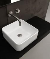 Axa one Serie Normal Aufsatzwaschtisch ohne Hahnloch, B: 350, T: 350 mm, weiss glänzend