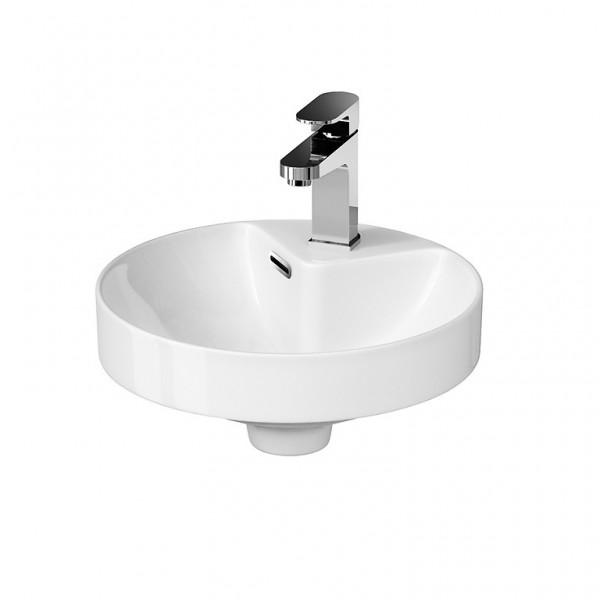 Neuesbad Serie 300 Keramik Halbeinbau-/Aufsatzwaschtisch, D:380mm, H:65mm, weiss