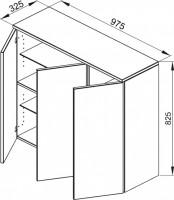 Bette Mod Highboard Halbhoch 3türig, 82,5x97,5x32,5 cm weiß Hochglanz, wand, RHD0-800