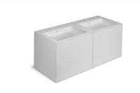 Cosmic Block  Unterschrank 4 Schubladen Mit Waschtisch 2 Becken Biobased Matt 120,5x50x52cm, Weiss M