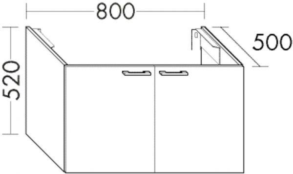 Burgbad Waschtischunterschrank Sys30 PG4 520x800x500 Grau Hochglanz, WUYS080F3364