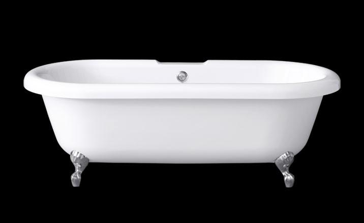 Antiqua freist. Oval Badewanne L: 169,5 B: 76,5 H: 59 cm mit Klauenfuß verchromt 0100-062-02-C/CR