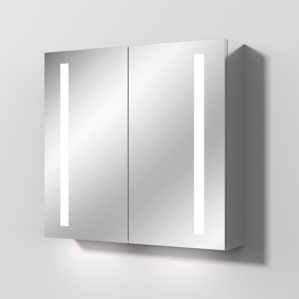Sanipa Reflection Aluminium-Spiegelschrank ALEX 80 mit LED-Beleuchtung, AU3129Z