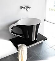 ArtCeram One Shot Cup Aufsatzwaschtich, B: 700, T: 500, H: 425 mm, schwarz glänzend / weiss glänzend