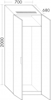 Burgbad Hochschrank Sys30 PG2 2000x700x690 Weiß Hochglanz, HSIT070461