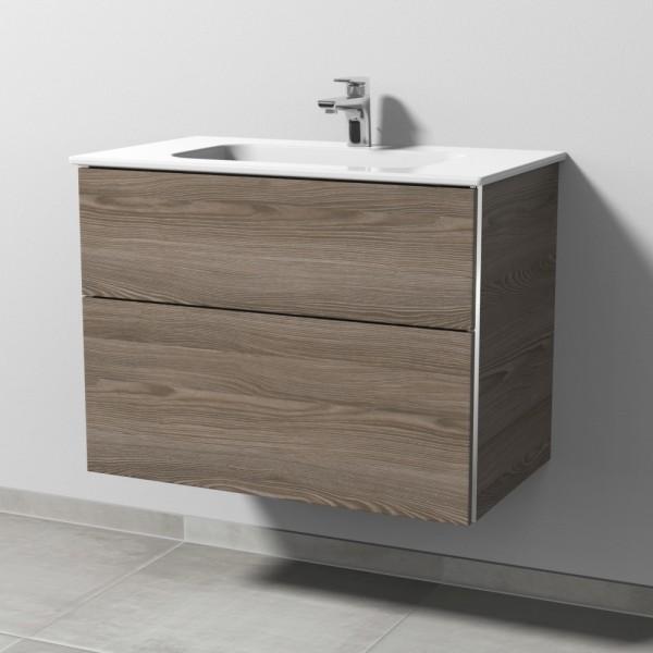 Sanipa 3way Keramik-Set Design inkl. Keramik-Waschtisch und Waschtischunterbau mit 2 Auszügen, Pinie