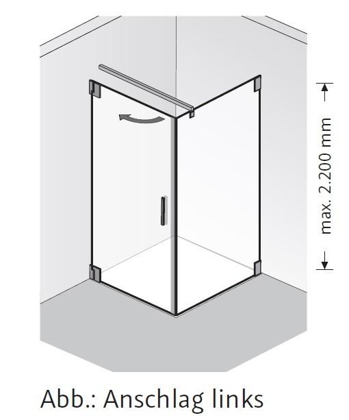 HSK k2.20 Drehtür und Seitenwand K2.20 bis max. 1000 mm rechts bis max. 1000 mm ja nein nein nein Echtglas klar hell bis max. 2000 mm Stangengriff K2 groß (390 mm)