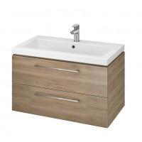 Neuesbad Serie 50 Waschtisch-Set 80cm, Keramikwaschtisch Version 2 mit Unterschrank, nussbaum