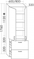 Burgbad Hochschrank Sys30 PG1 1760x800x320 Eiche Dekor Flanelle, HSBC080F2239