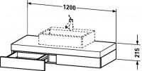 Duravit Konsole mit Schubkasten Fogo T:550, B:1200, H:215mm, FO85230