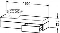 Duravit Konsole mit Schubkasten Fogo T:360, B:1000, H:215mm, FO83720
