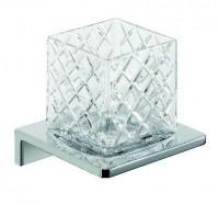Emco Asio Glashalter mit Kristallglas klar geschliffen, Version 2, chrom/chrom