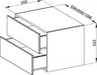 Bette Modules Sideboard wandh. 2 Auszüge, 70x53 cm flint Strukturlack matt, RSB2-811