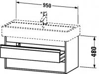 Duravit Waschtischunterschrank wandhängend Ketho T:440, B:950, H:480mm, KT6638