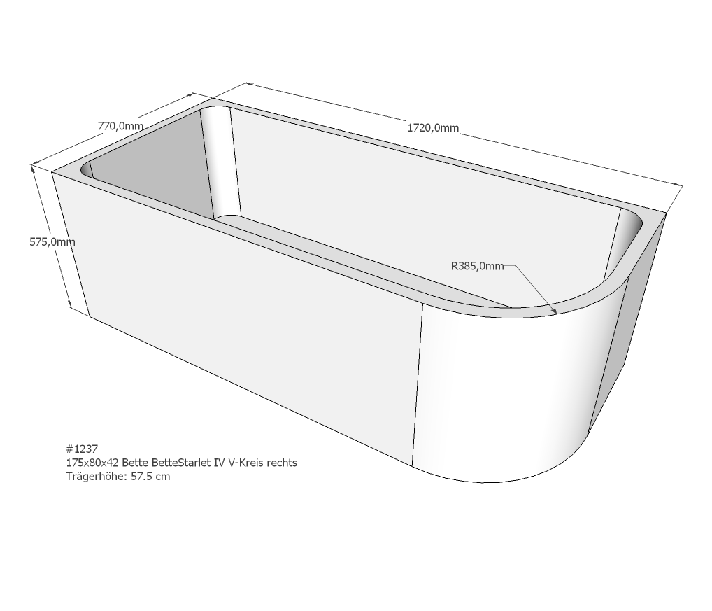 neuesbad wannentr ger f r bette starlet 5 175x80 oval. Black Bedroom Furniture Sets. Home Design Ideas