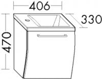 Burgbad Cala 1.0 Waschtisch-Set WTU040M, B:406, T:330, H:470mm, 1 Klappe