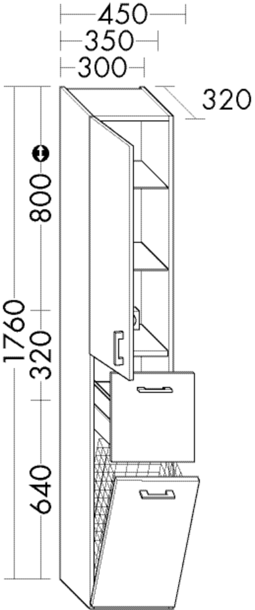 Image of Burgbad Hochschrank Sys30 PG3 1760x350x320 Lichtgrau Matt, HSKV035LF3355 HSKV035LF3355
