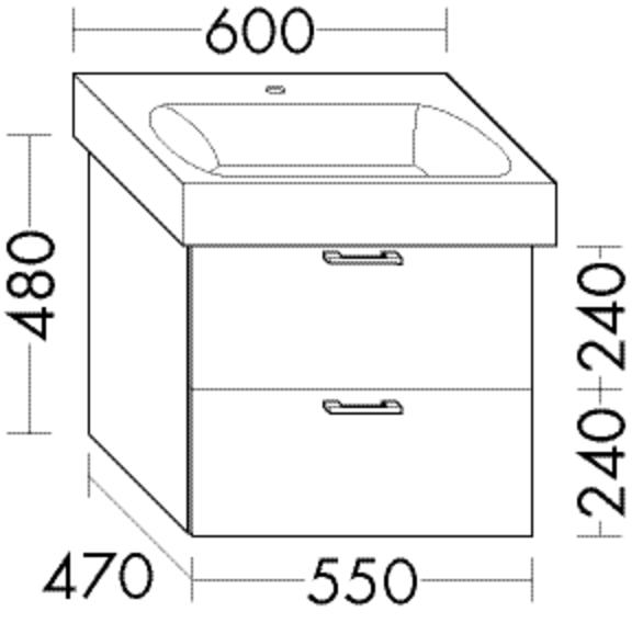 Burgbad Waschtischunterschrank Sys30 PG4 480x550x470 Grau Hochglanz, WUVC055F3364