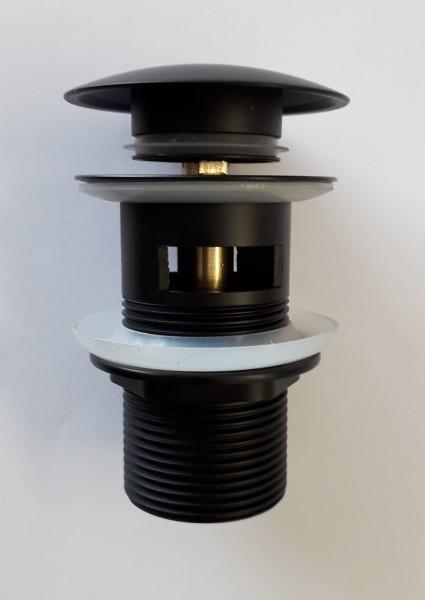 Neuesbad Ablaufgarnitur rund mit Verschluss Klick-Klack, mit Überlauf, schwarz matt