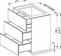 Bette Modules WT-Unterbau 3 Auszug, 100x49,5 cm weiß Hochglanz, RUE3-800