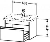 Duravit Waschtischunterschrank wandhängend Ketho T:455, B:600, H:410mm, KT6670 , Front/Korpus: weiss