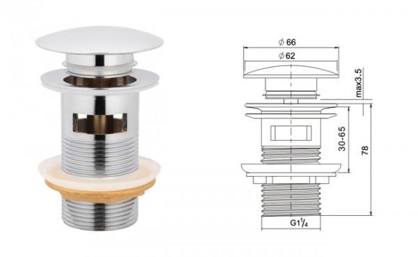 Neuesbad Ablaufgarnitur rund mit Verschluss Klick-Klack, mit Überlauf