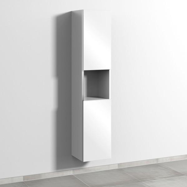 Sanipa 3way Hochschrank mit 2 Türen und 1 offenem Fach, Weiß-Glanz