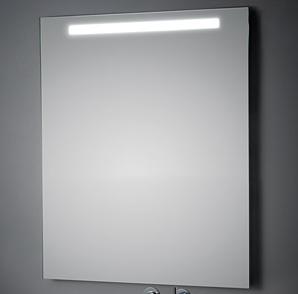 KOH-I-NOOR T5 Wandspiegel mit Oberbeleuchtung, B: 100 H: 80 T: 3,3 cm