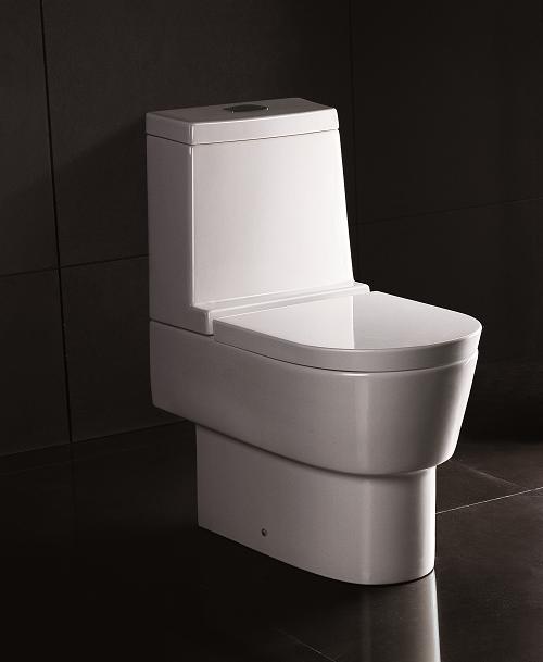 4000 Stand-Tiefspül-WC, mit Spülkasten und WC-Sitz mit Absenkautomatik, weiss mit Nanobesch NB4000SWCAS