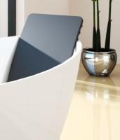 Hoesch Rückenlehne 676x360 mm aus Polyethuran für Badewanne Namur, schwarz, 69194