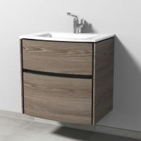 Sanipa TwigaGlas Waschtischunterbau mit Glas-Waschtisch und 2 Auszügen, Pinie-Grau, SY22214